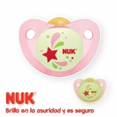 NUK Chupete Látex Luminoso Night Pink