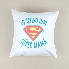 Cojín cuadrado piqué Yo tengo una Super Mamá Azul