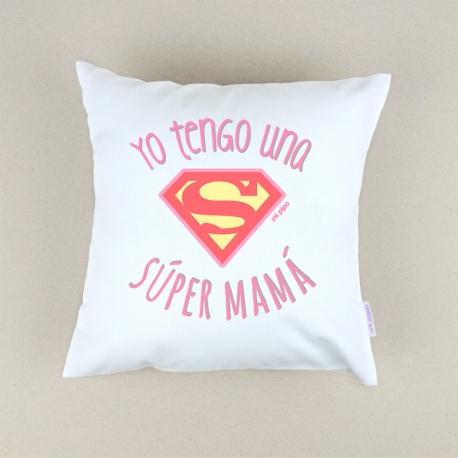 Cojín cuadrado piqué Yo tengo una Super Mamá Rosa