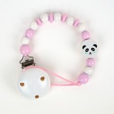 Cadenita de madera panda rosa no personalizada