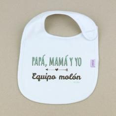 Babero Divertido Papá, Mamá y Yo Equipo molón