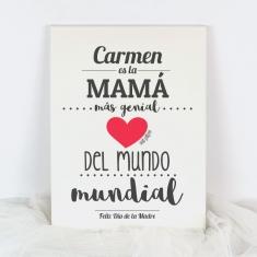 Lienzo Personalizado (nombre Mamá) es la Mamá más genial del mundo mundial