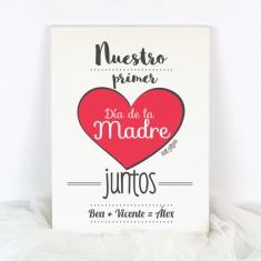 Lienzo Nuestro primer Día de la Madre juntos (nombre mamá+papá+niño/a)
