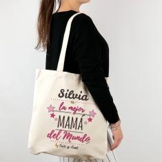 Bolso algodón orgánico personalizado (nombre Mamá) es la mejor Mamá del mundo by (nombre niño/a)