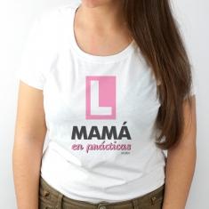 Camiseta Divertida Mamá en prácticas Rosa