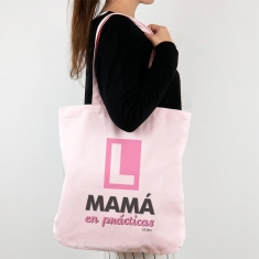Bolso algodón orgánico Mamá en prácticas rosa