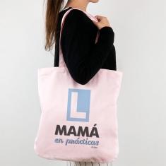 Bolso algodón orgánico Mamá en prácticas azul