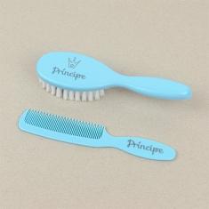 Set Cepillo y peine azul Príncipe
