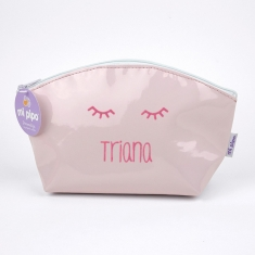 Toiletry Leather Bag White-Edging Gray Personalized