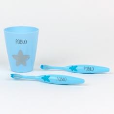 Set 2 Cepillos de dientes + Vasito Personalizados Azul