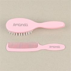 Set Cepillo y peine rosa Personalizados
