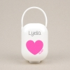 Box Pacifier Holder White-Heart Pink Personalized