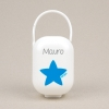 Box Pacifier Holder White-Star Blue Personalized