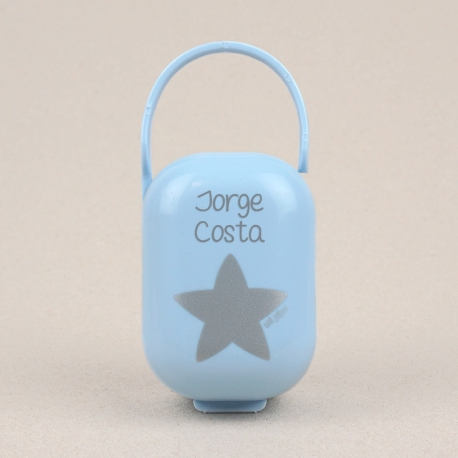 Cajita Portachupetes Azul-Estrella Plata Personalizada