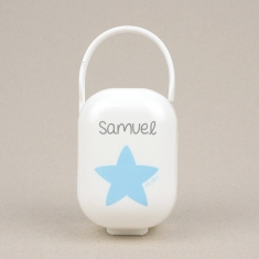 Cajita Portachupetes Blanca-Estrella Azul Personalizada