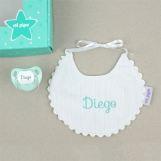 Box Baby Bib Mint Personalized