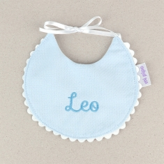 Bib Piqué Birth Blue Personalized