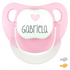 Chupete Baby Deco Rosa Corazón Rosa Personalizado