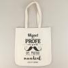 Bolso algodón orgánico personalizado bigote (nombre) es el mejor Profe del mundo (curso y año