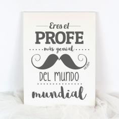 Lienzo Eres el Profe más genial del mundo mundial bigote