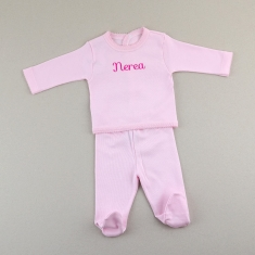 Babidu set 2 Pieces Pink Personalized 0m