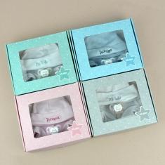 Cajita Set recién nacido rosa, azul, gris o menta