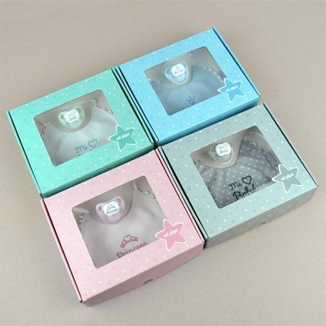 Cajita Baby babero rosa, azul, gris o menta