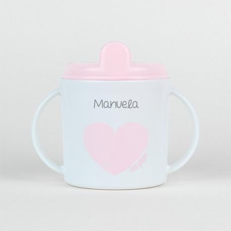 Taza Corazón rosa pastel personalizada