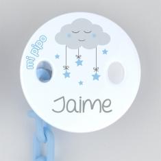 Broche Pinza Decorado Nube Azul Personalizado