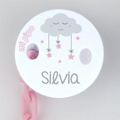 Broche Pinza Deco Nube Rosa Personalizado