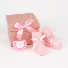 Cajita Patucos Rosa Personalizada