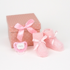 Box Baby Shoes Pink Personalized