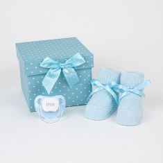 Box Baby Shoes Blue Personalized