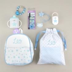 Pack El Primero de la Clase Azul personalizado + Regalo Cadenita Madera
