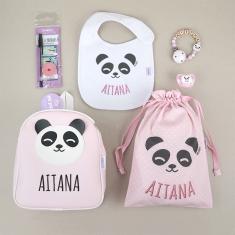Pack Vamos al Cole personalizado Panda Rosa + Regalo Marcaprendas