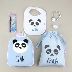 Pack Vamos al Cole personalizado Panda Azul + Regalo Marcaprendas