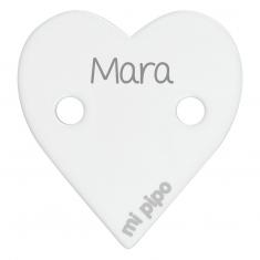 Broche Pinza Corazón Blanco Personalizado