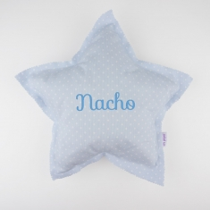 Star Pillow Blue Handmade Personalized