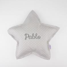 Cojín Estrella Gris Handmade Personalizado