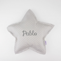 Star Pillow Gray Handmade Personalized