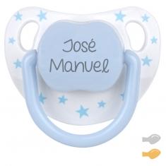 Chupete Baby Chic Blanco Azul Personalizado