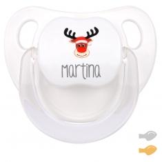 Chupete Baby decorado Navidad personalizado con Reno Rudolf