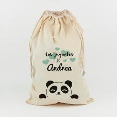 Saco para Juguetes Personalizado Panda menta juguetes