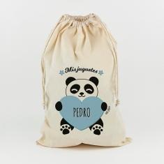 Saco para Juguetes Personalizado Panda Corazón azul