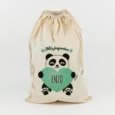 Saco para Juguetes Personalizado Panda Corazón menta