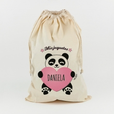 Saco para Juguetes Personalizado Panda Corazón rosa