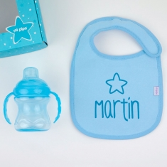 Box Baby Bib Gray Personalized