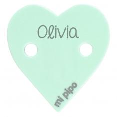 Broche Pinza Corazón Verde Mint Personalizado