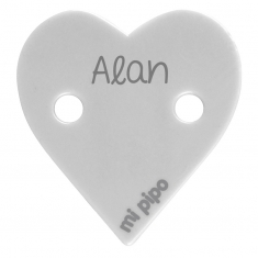 Broche Pinza Corazón Gris Personalizado
