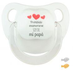 Chupete Baby Deco Blanco Prohibido enamorarse soy de mi Papá